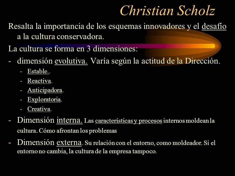 Christian ScholzResalta la importancia de los esquemas innovadores y el desafío a la cultura conservadora.