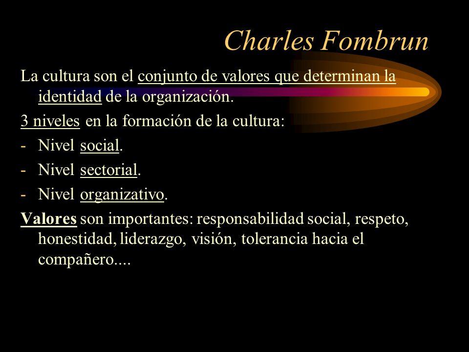 Charles Fombrun La cultura son el conjunto de valores que determinan la identidad de la organización.