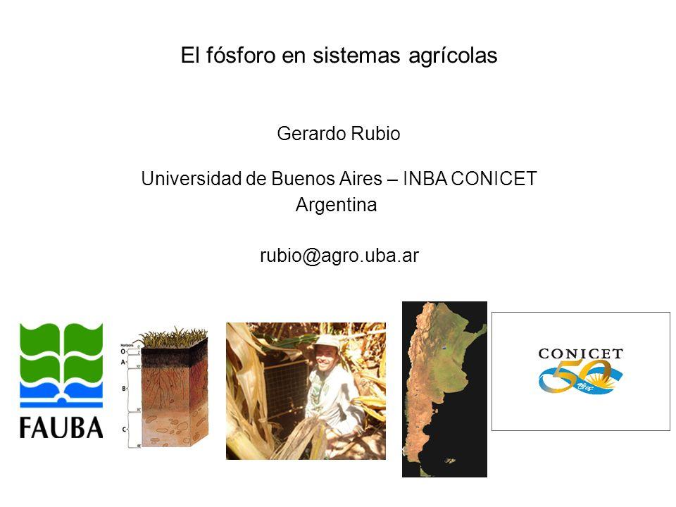 El fósforo en sistemas agrícolas