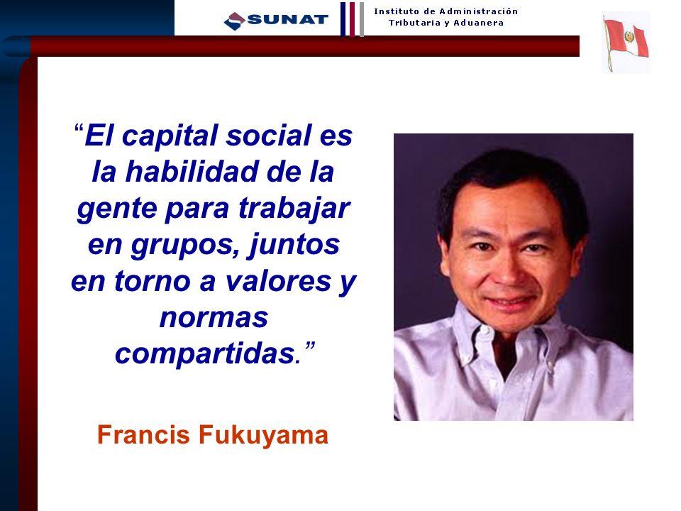 El capital social es la habilidad de la gente para trabajar en grupos, juntos en torno a valores y normas compartidas.