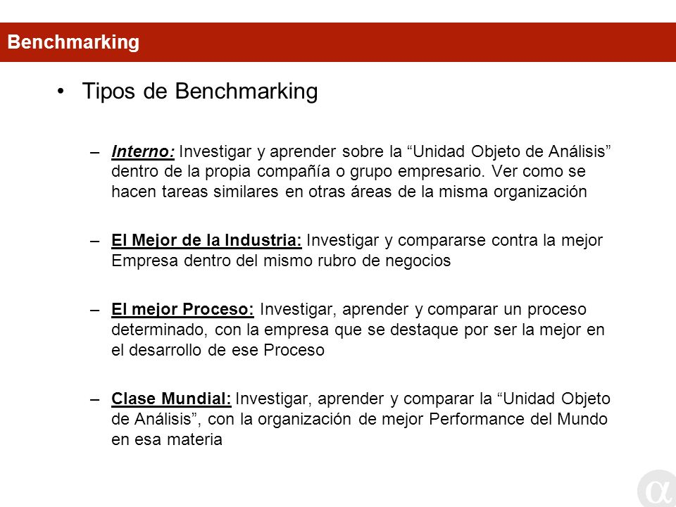 Tipos de Benchmarking Benchmarking