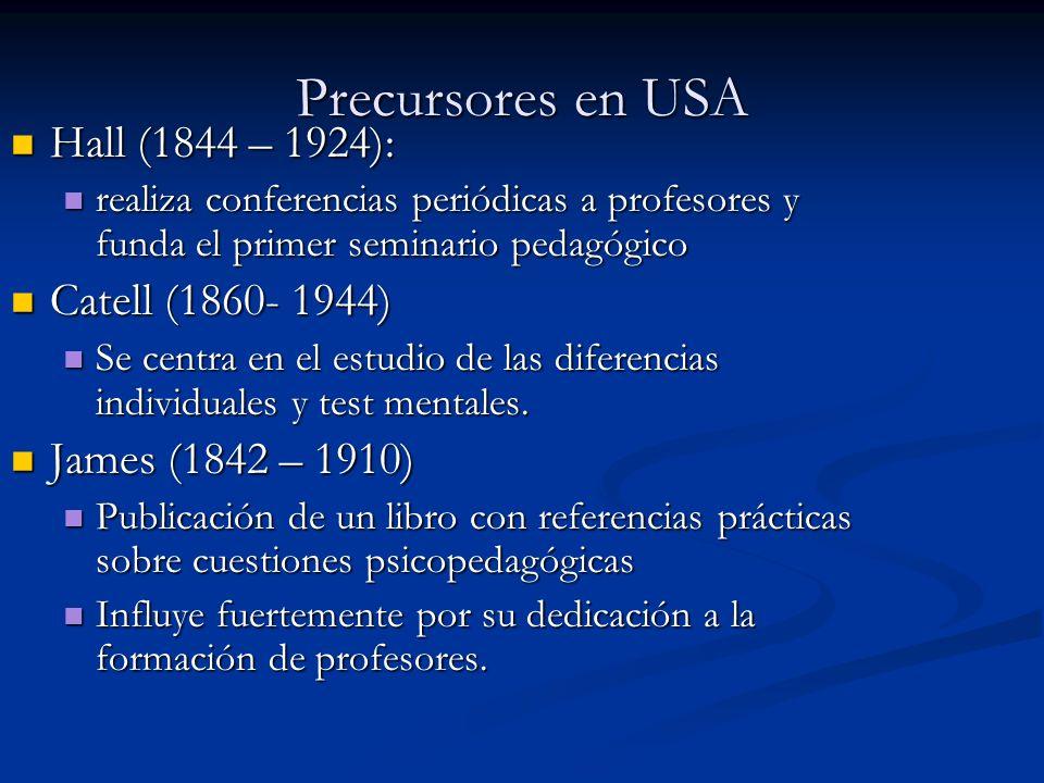 Precursores en USA Hall (1844 – 1924): Catell (1860- 1944)