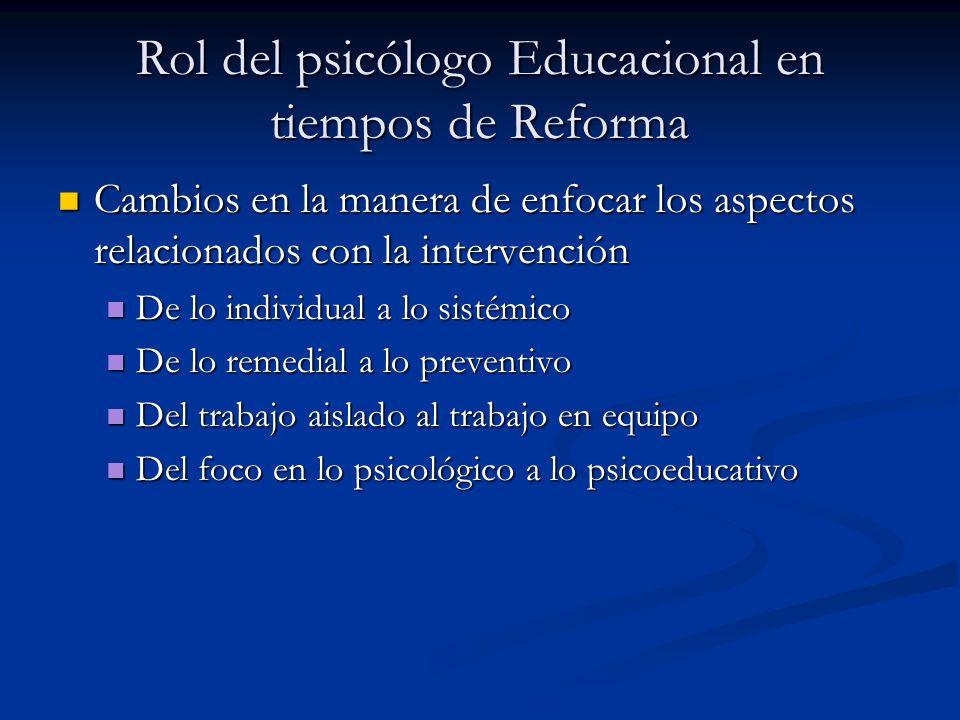 Rol del psicólogo Educacional en tiempos de Reforma