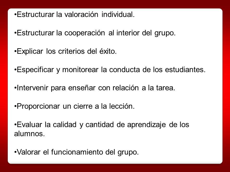Estructurar la valoración individual.