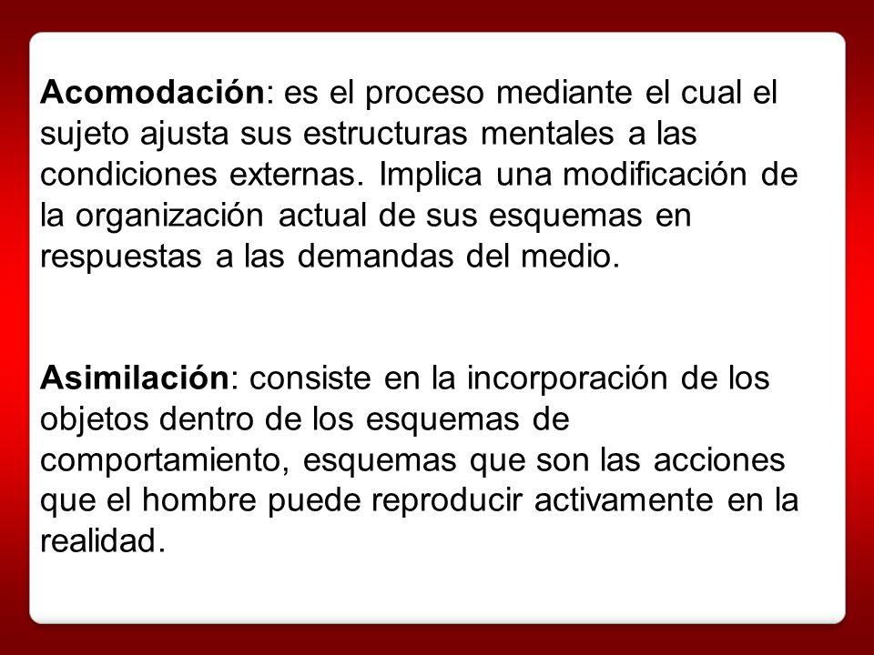 Acomodación: es el proceso mediante el cual el sujeto ajusta sus estructuras mentales a las condiciones externas. Implica una modificación de la organización actual de sus esquemas en respuestas a las demandas del medio.