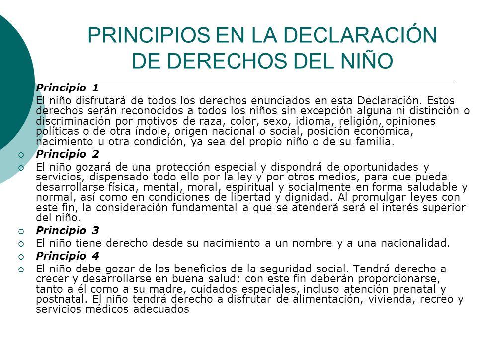 PRINCIPIOS EN LA DECLARACIÓN DE DERECHOS DEL NIÑO