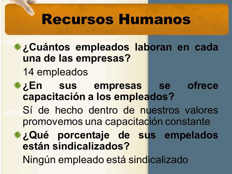 Recursos Humanos ¿Cuántos empleados laboran en cada una de las empresas 14 empleados. ¿En sus empresas se ofrece capacitación a los empleados