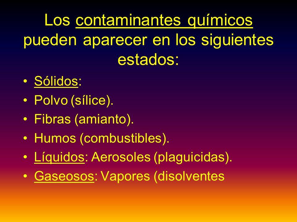 Los contaminantes químicos pueden aparecer en los siguientes estados: