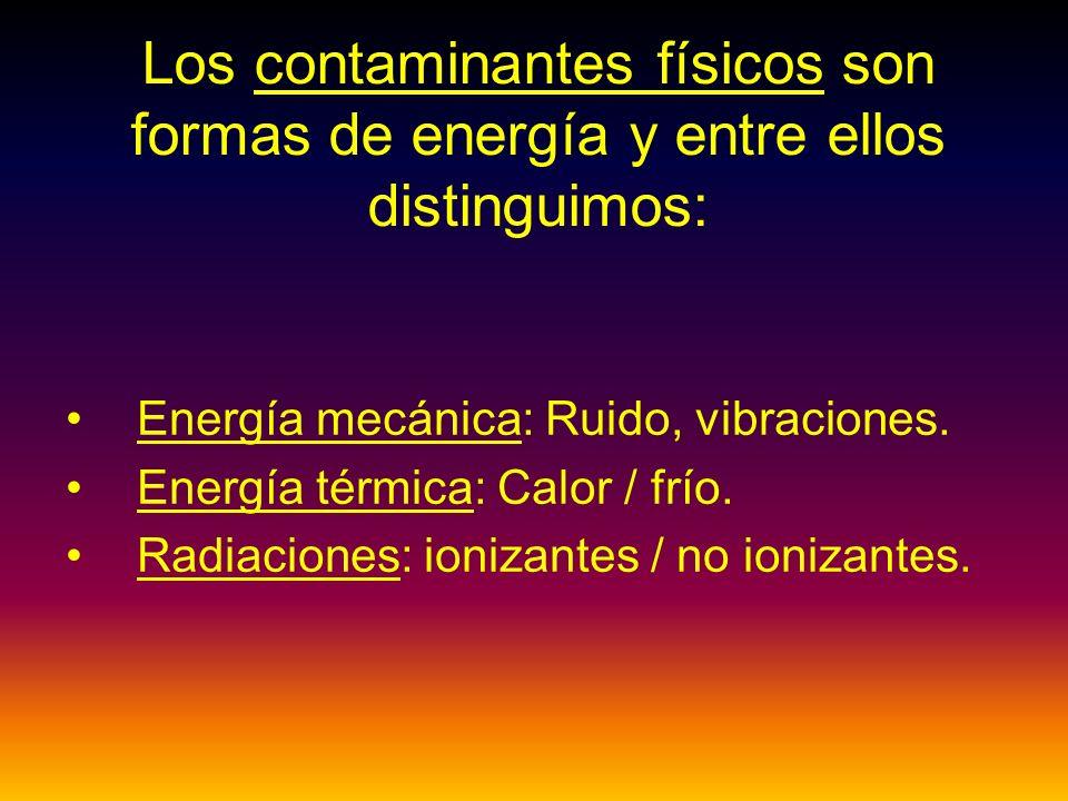 Los contaminantes físicos son formas de energía y entre ellos distinguimos: