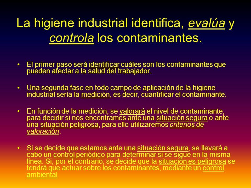 La higiene industrial identifica, evalúa y controla los contaminantes.