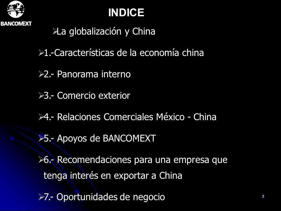 INDICE La globalización y China