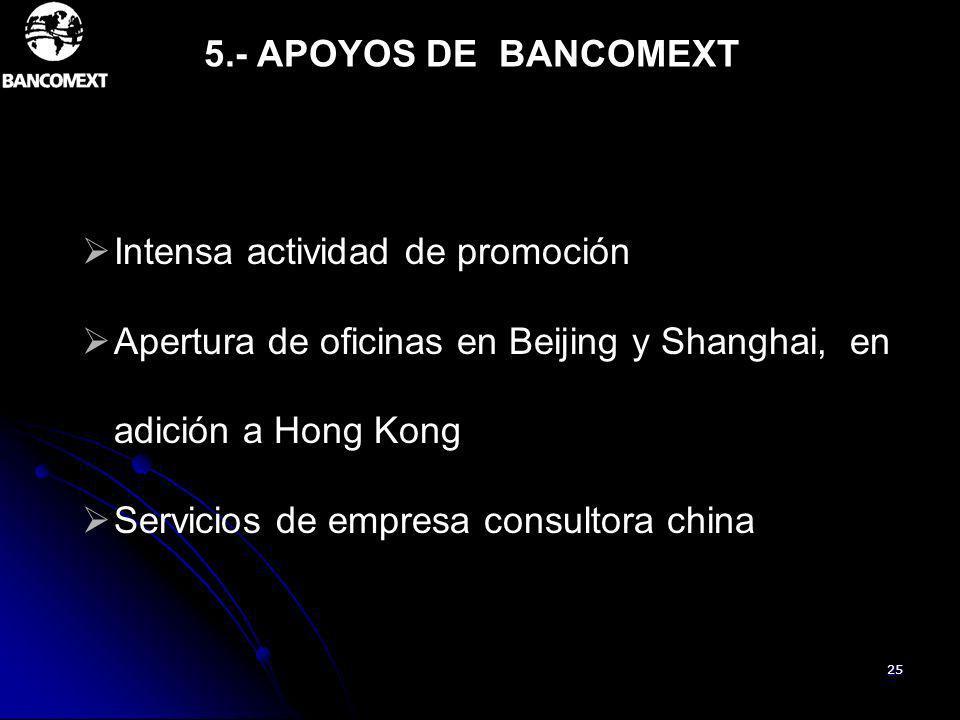 5.- APOYOS DE BANCOMEXT Intensa actividad de promoción. Apertura de oficinas en Beijing y Shanghai, en adición a Hong Kong.