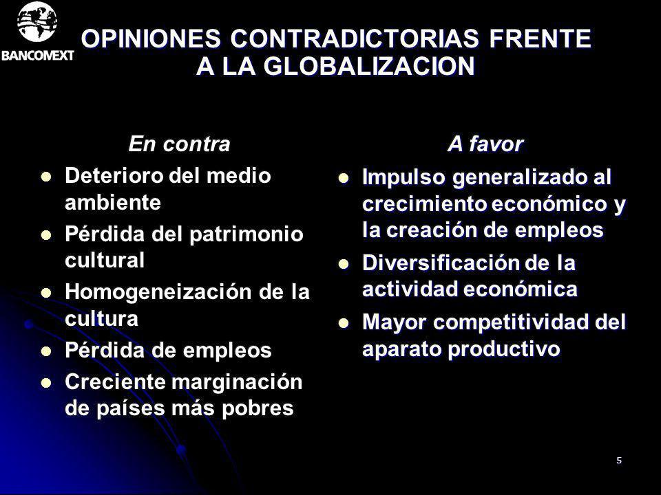 OPINIONES CONTRADICTORIAS FRENTE A LA GLOBALIZACION