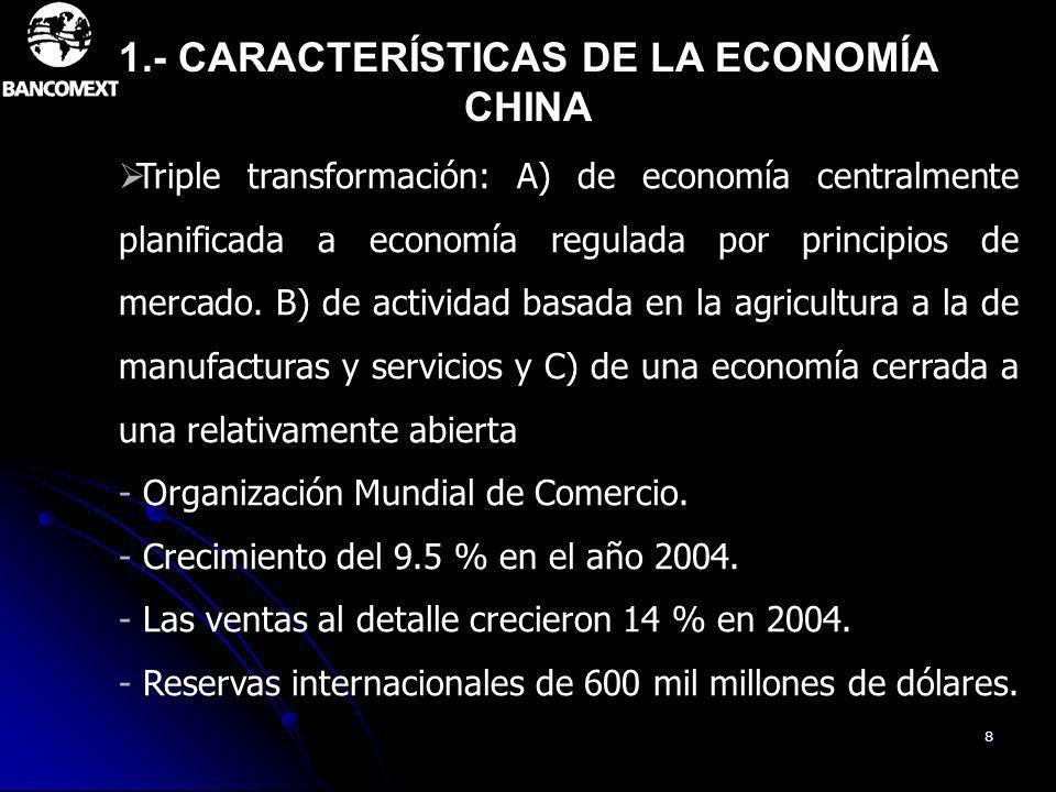 1.- CARACTERÍSTICAS DE LA ECONOMÍA CHINA