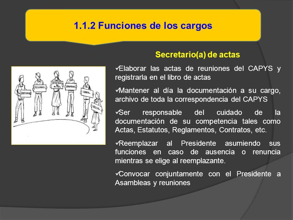 1.1.2 Funciones de los cargos Secretario(a) de actas