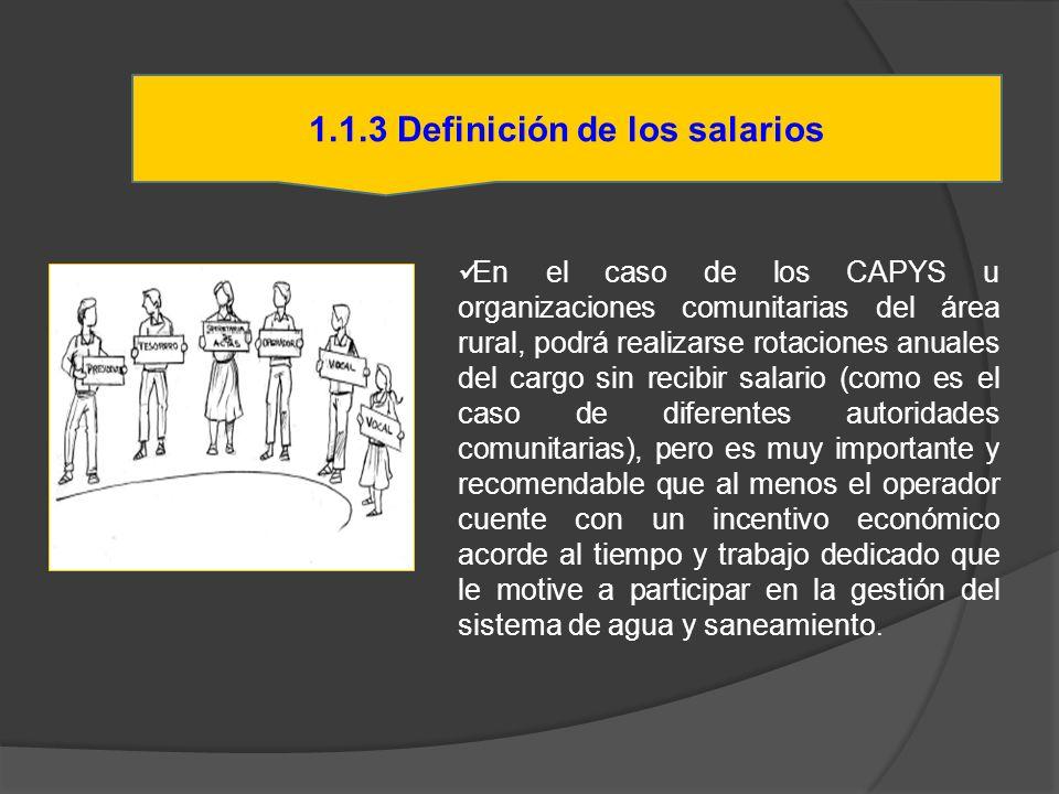 1.1.3 Definición de los salarios