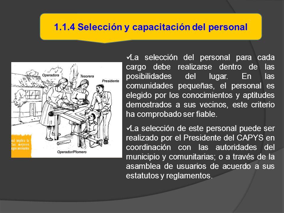 1.1.4 Selección y capacitación del personal