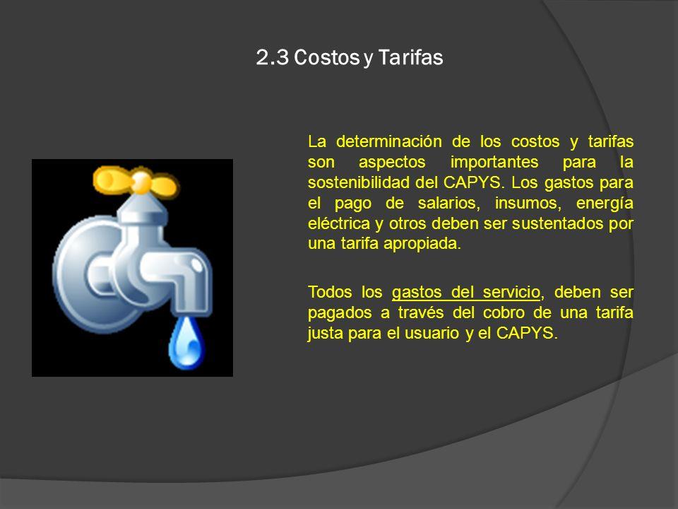 2.3 Costos y Tarifas