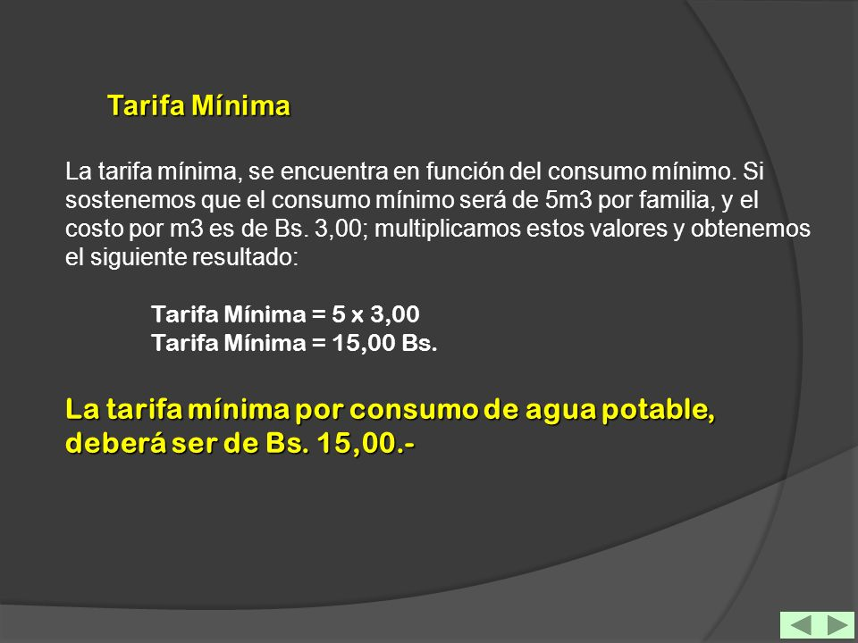 Tarifa Mínima
