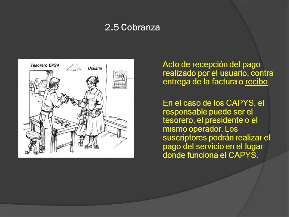 2.5 CobranzaActo de recepción del pago realizado por el usuario, contra entrega de la factura o recibo.