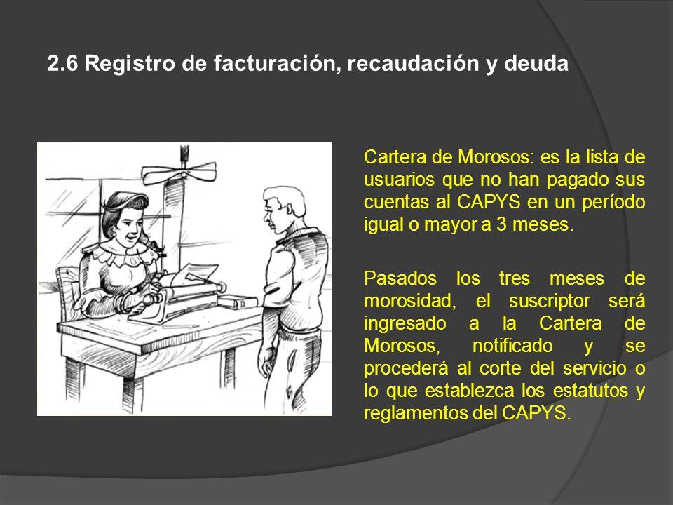 2.6 Registro de facturación, recaudación y deuda