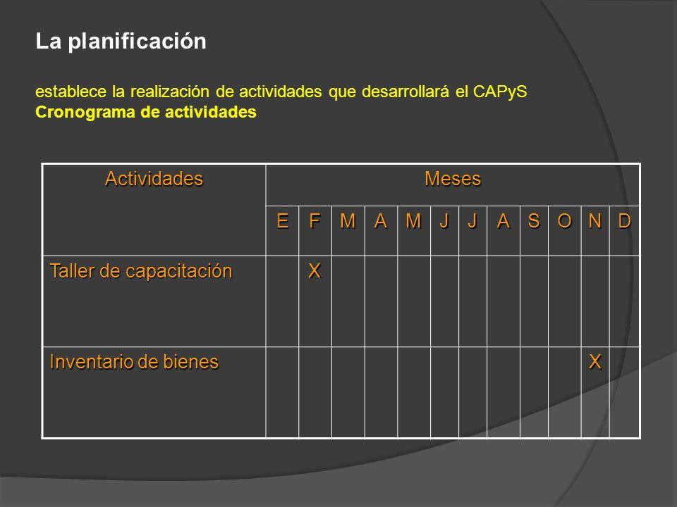 La planificación establece la realización de actividades que desarrollará el CAPyS Cronograma de actividades