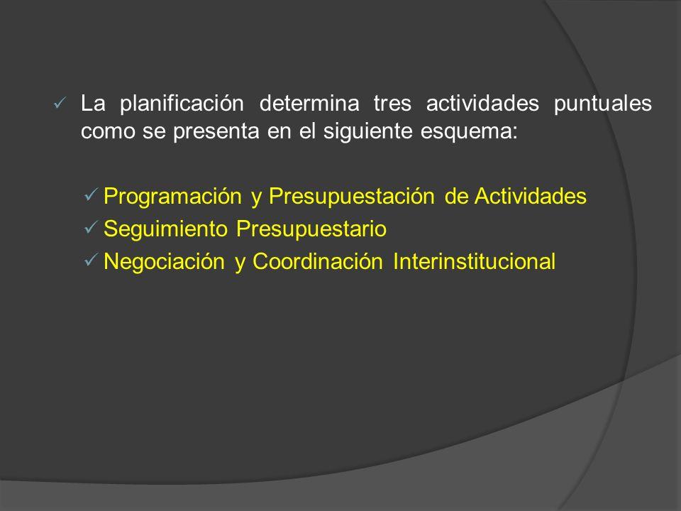 La planificación determina tres actividades puntuales como se presenta en el siguiente esquema: