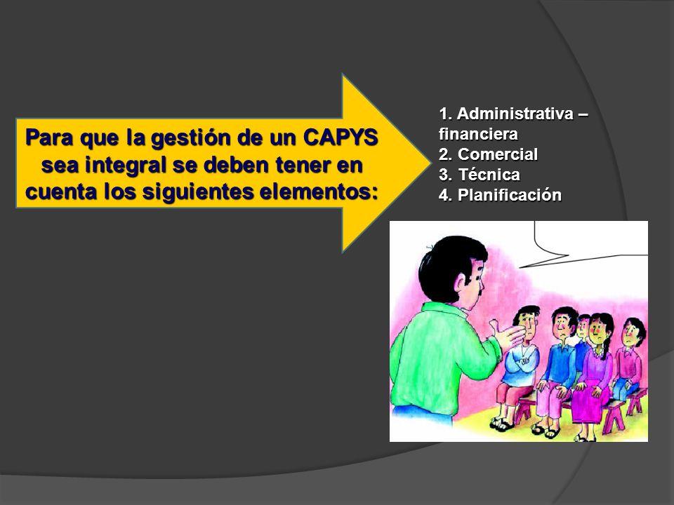 Para que la gestión de un CAPYS sea integral se deben tener en cuenta los siguientes elementos: