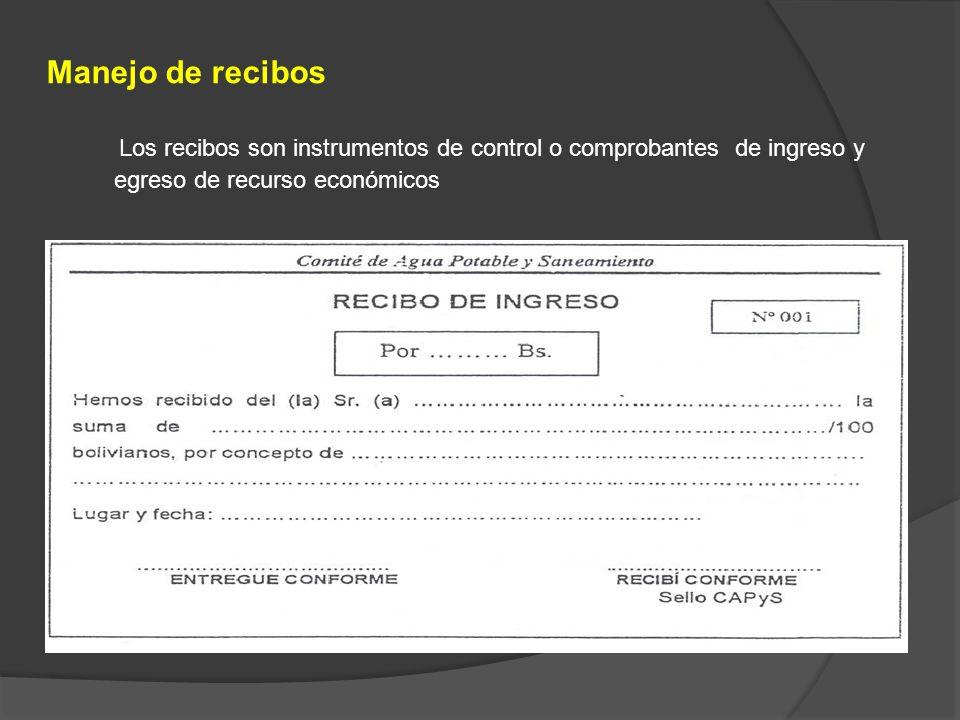 Manejo de recibosLos recibos son instrumentos de control o comprobantes de ingreso y egreso de recurso económicos.