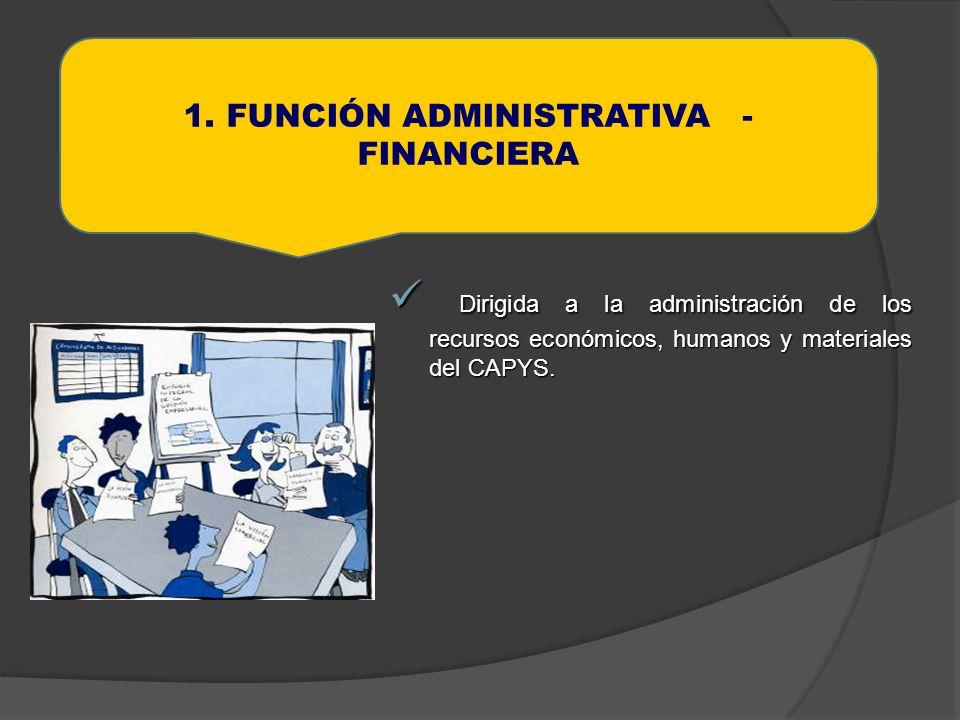 1. FUNCIÓN ADMINISTRATIVA - FINANCIERA