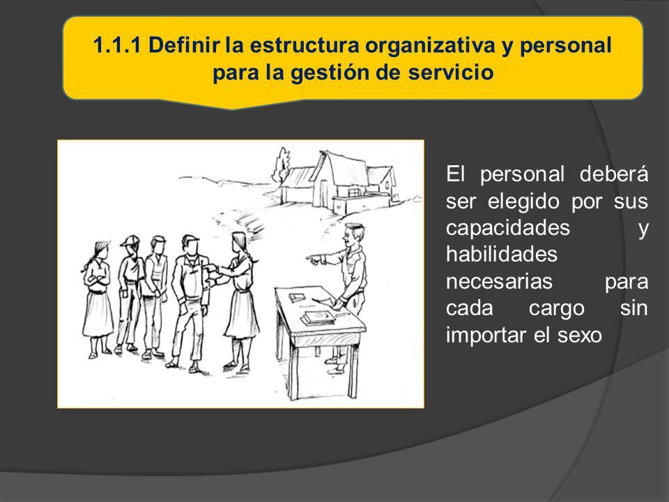 1.1.1 Definir la estructura organizativa y personal para la gestión de servicio