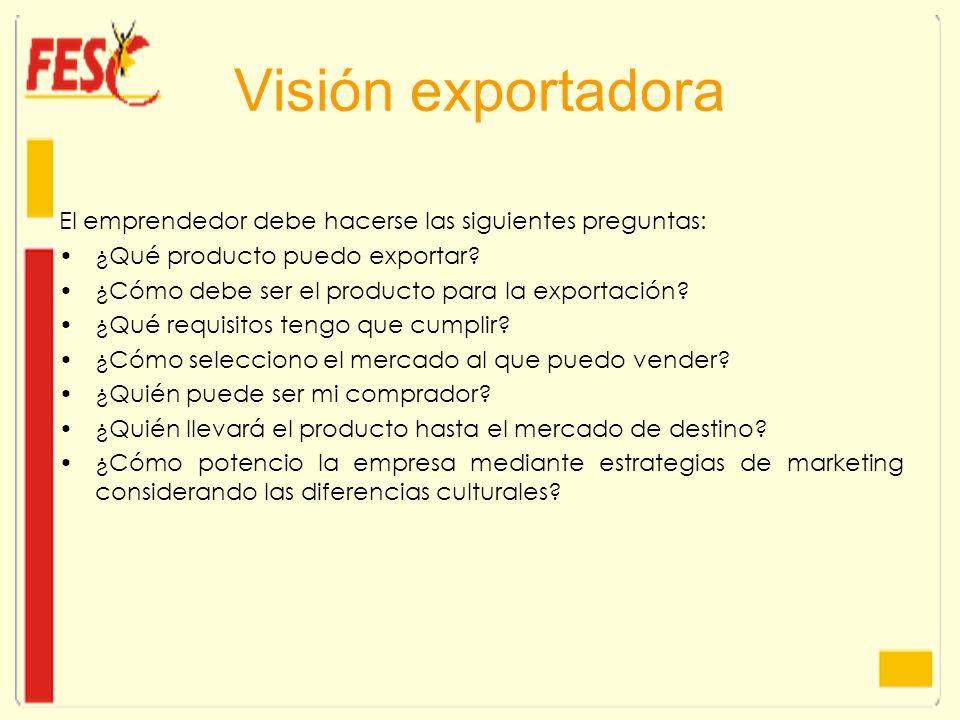 Visión exportadora El emprendedor debe hacerse las siguientes preguntas: ¿Qué producto puedo exportar