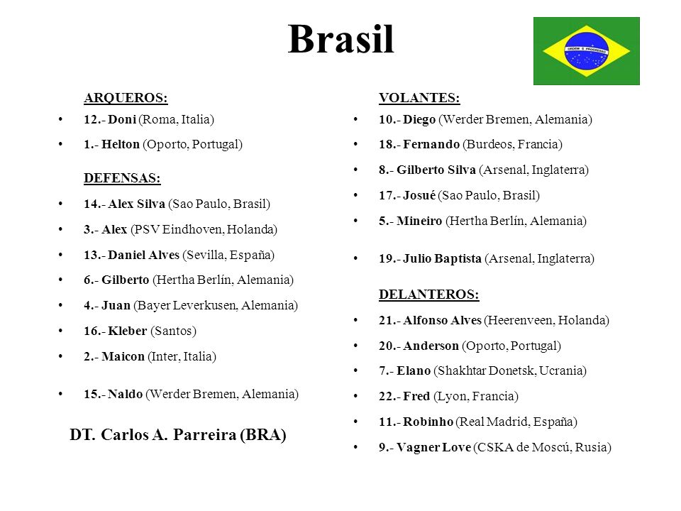Brasil DT. Carlos A. Parreira (BRA) ARQUEROS: VOLANTES: