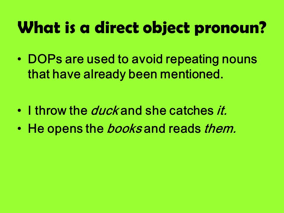 What is a direct object pronoun