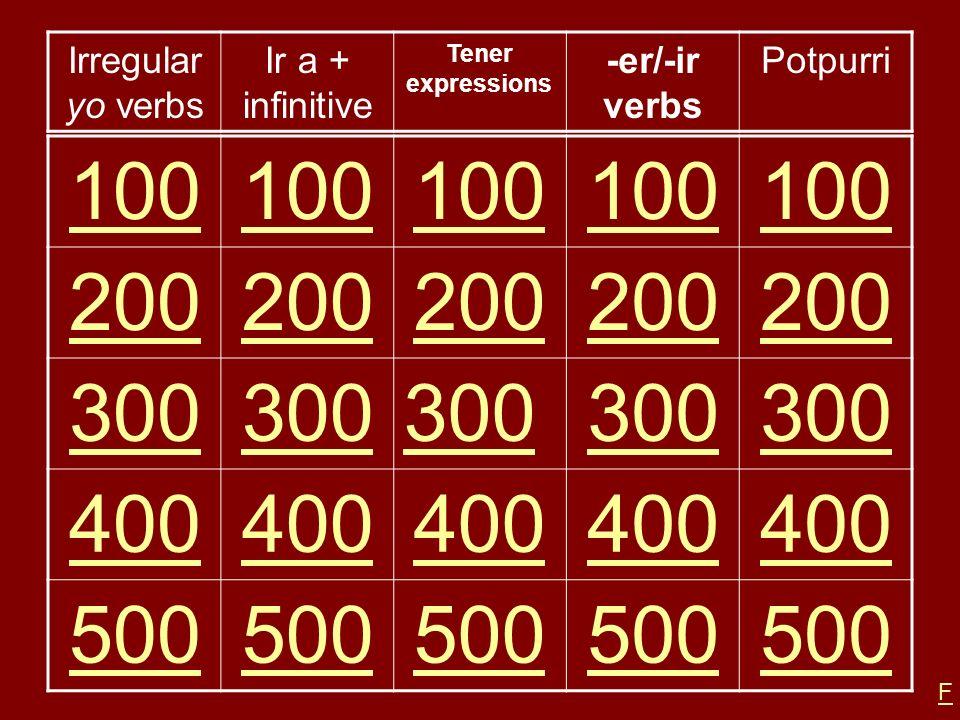 100 200 300 400 500 Irregular yo verbs Ir a + infinitive -er/-ir verbs
