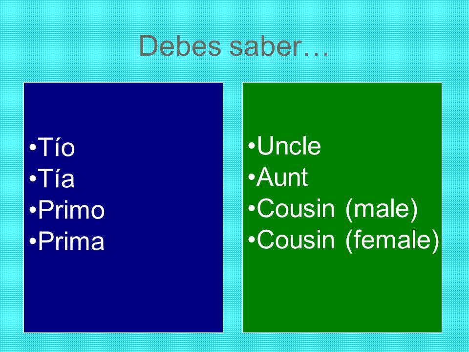 Debes saber… Tío Uncle Tía Aunt Primo Cousin (male) Prima
