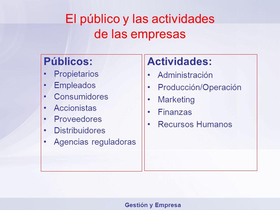El público y las actividades de las empresas