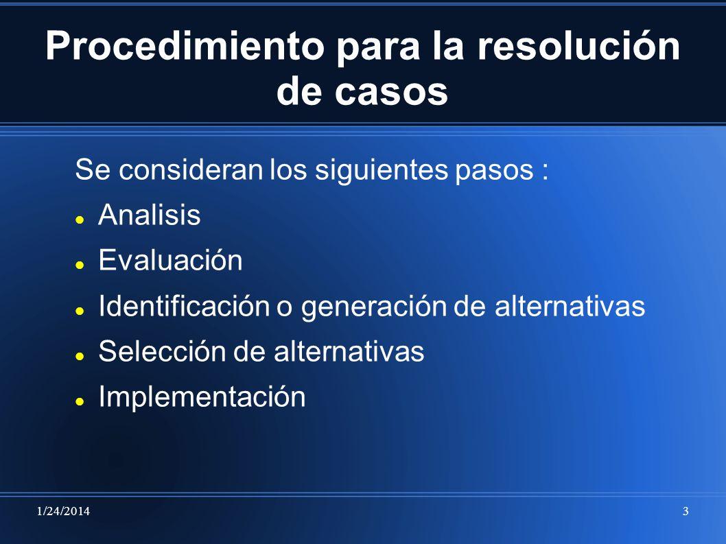 Procedimiento para la resolución de casos