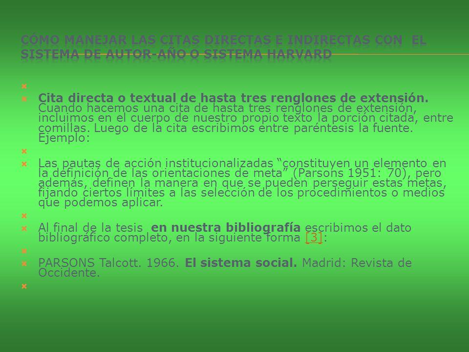 CÓMO MANEJAR LAS CITAS DIRECTAS E INDIRECTAS CON EL SISTEMA DE AUTOR-AÑO O SISTEMA HARVARD