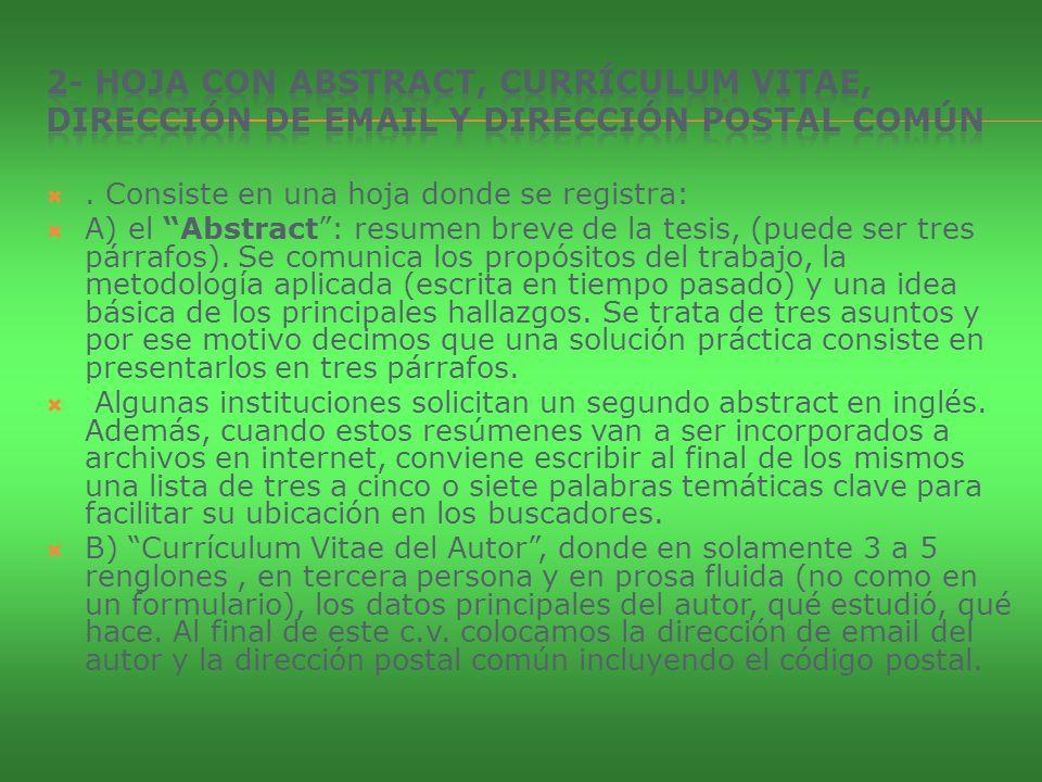 2- Hoja con abstract, currículum vitae, dirección de email y dirección postal común