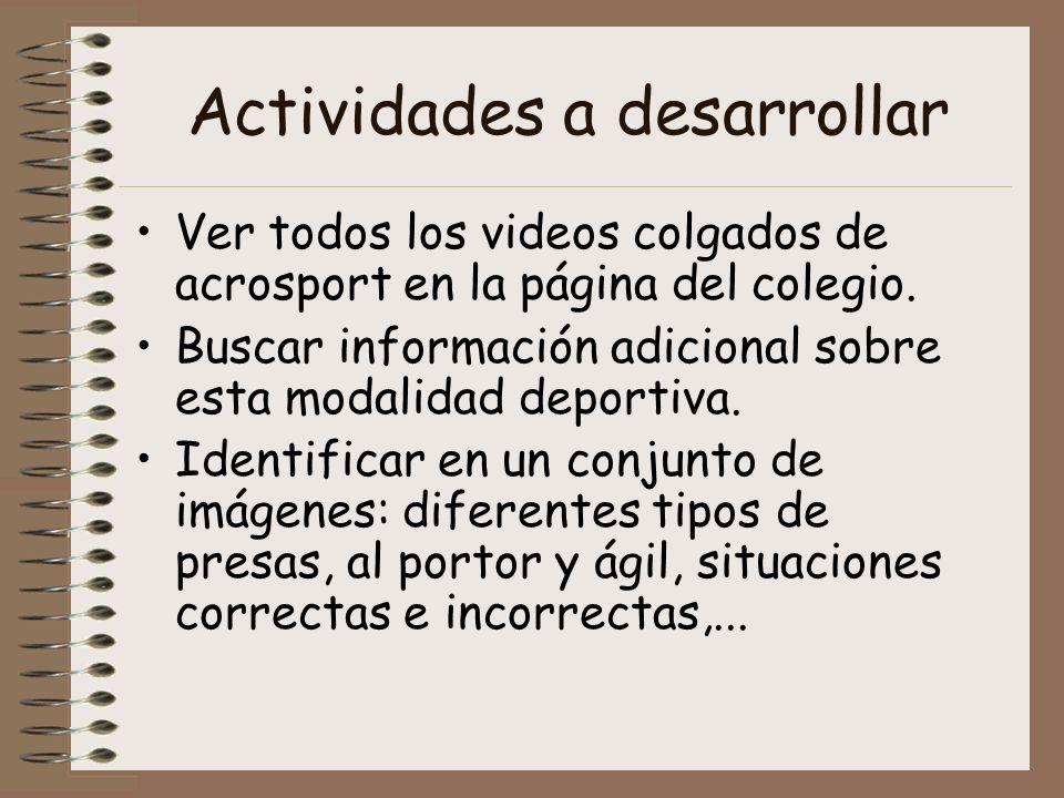 Actividades a desarrollar