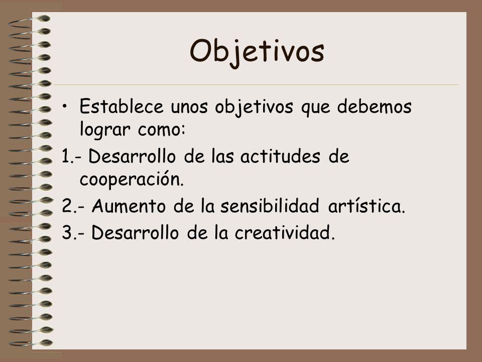 Objetivos Establece unos objetivos que debemos lograr como: