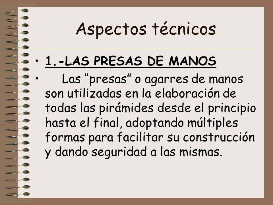 Aspectos técnicos 1.-LAS PRESAS DE MANOS