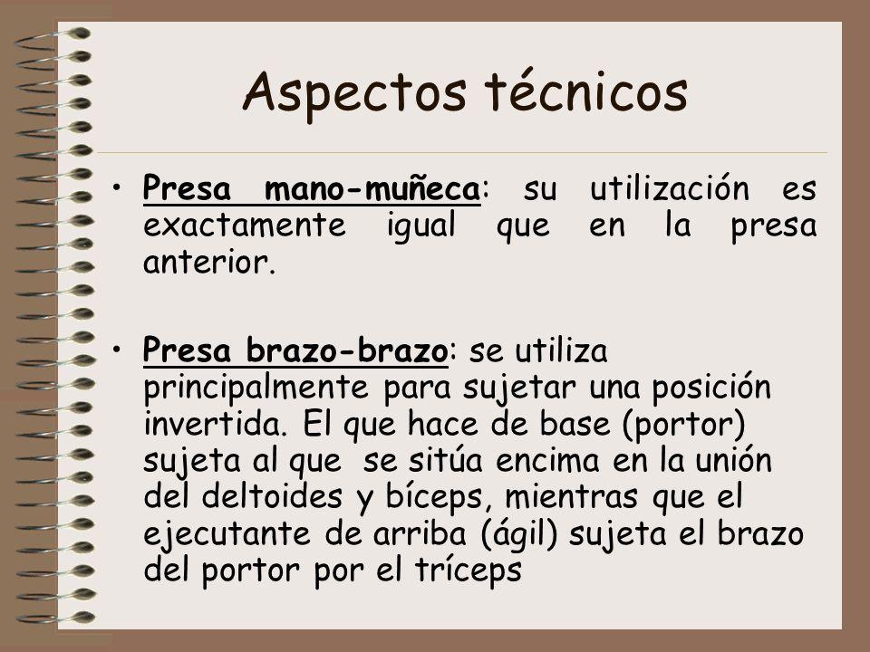 Aspectos técnicos Presa mano-muñeca: su utilización es exactamente igual que en la presa anterior.