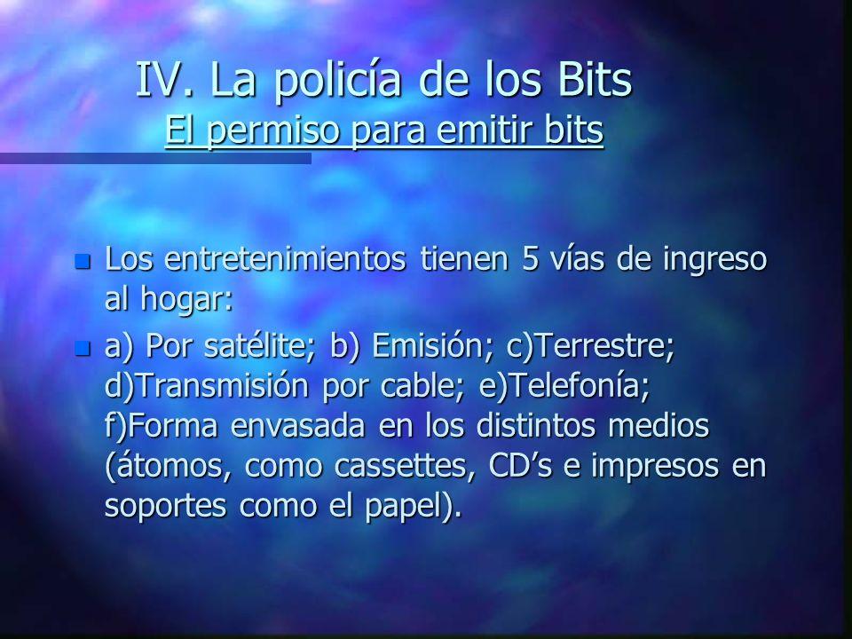 IV. La policía de los Bits El permiso para emitir bits