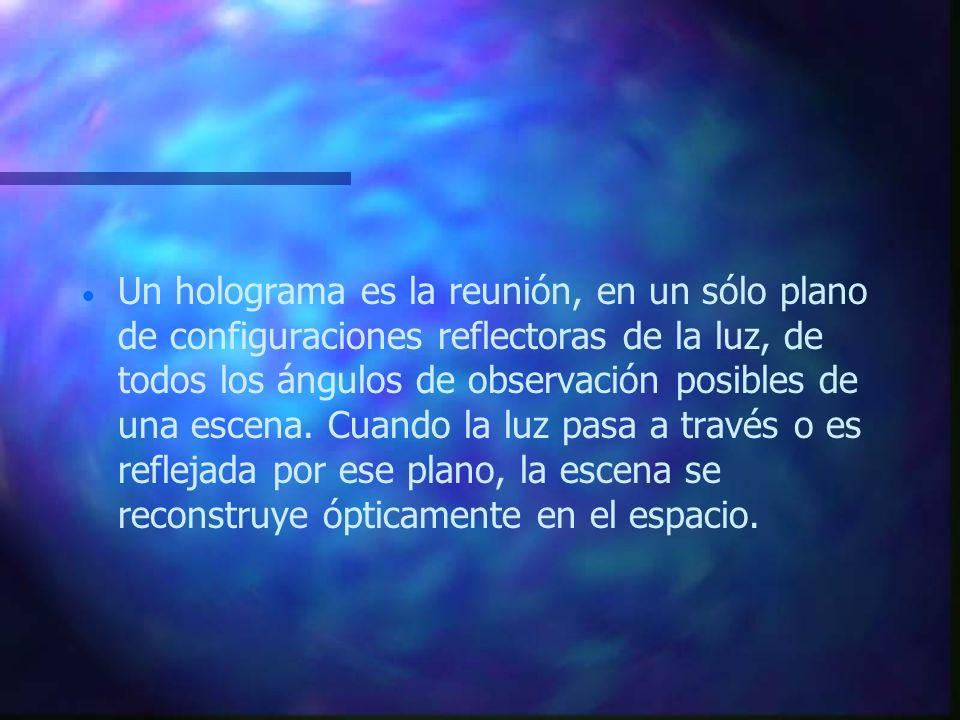 Un holograma es la reunión, en un sólo plano de configuraciones reflectoras de la luz, de todos los ángulos de observación posibles de una escena.