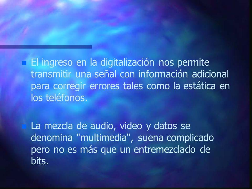 El ingreso en la digitalización nos permite transmitir una señal con información adicional para corregir errores tales como la estática en los teléfonos.
