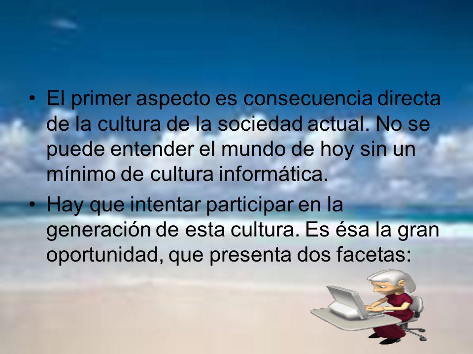 El primer aspecto es consecuencia directa de la cultura de la sociedad actual. No se puede entender el mundo de hoy sin un mínimo de cultura informática.