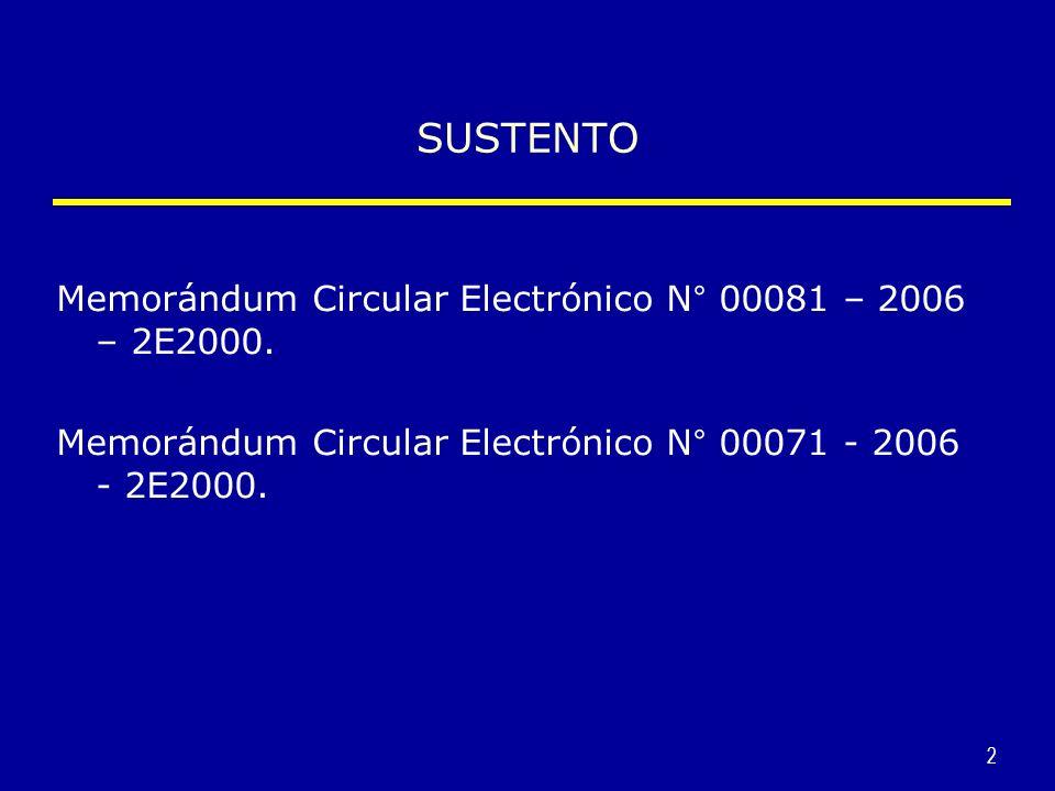 SUSTENTO Memorándum Circular Electrónico N° 00081 – 2006 – 2E2000.