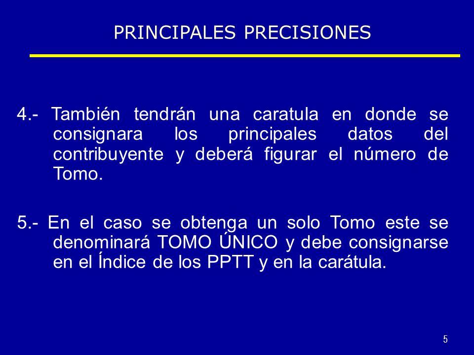PRINCIPALES PRECISIONES